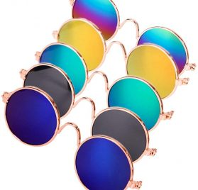 DPLUS Pet Goggles Cool Doll Glasses - Glasses Set of 5 - Classic Retro Circular Metal Prince Sunglasses for Cat Small Dogs