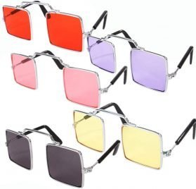 DPLUS Pet Goggles Sunglasses - Pack of 5 Latest Fashion Clear Square Cat Dog Goggles - Classic Retro Circular Metal Circle Eye-Wear for Cat,Chihuahua or Small Dogs