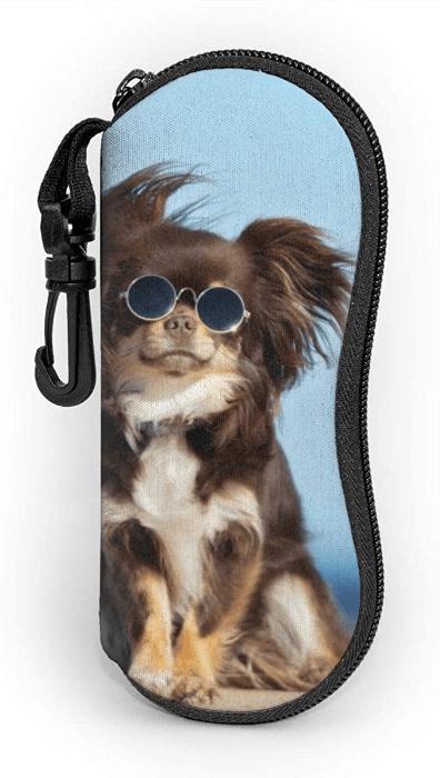Glasses Case miami flag Soft Neoprene Zipper with Carabiner
