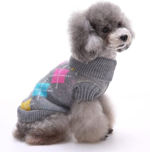 BINGPET Dog Argyle Sweater Cute Winter Pets Clothes 5