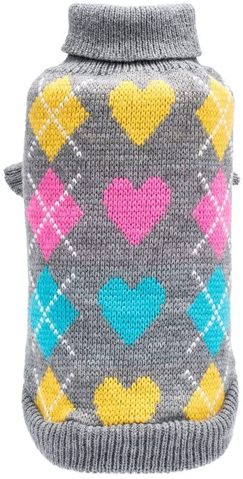 BINGPET Dog Argyle Sweater Cute Winter Pets Clothes