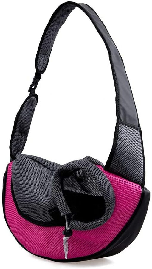 APABEZY Dog Sling Carrier for Small Dogs Cat Carrier Breathable Mesh Hand-Free Bag up to 5 lbs Gift 2