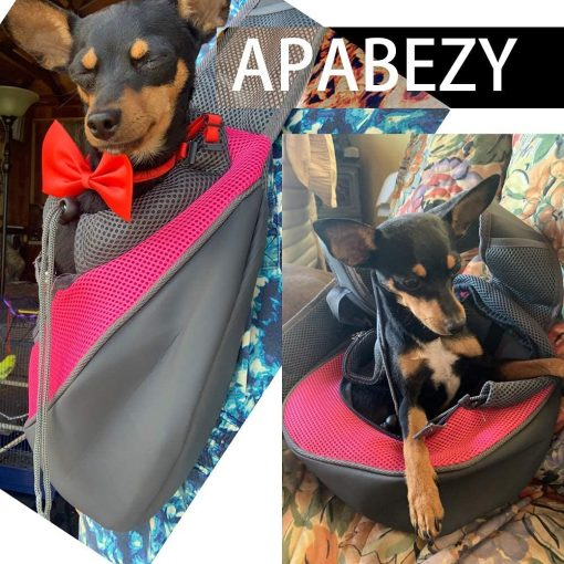 APABEZY Dog Sling Carrier for Small Dogs Cat Carrier Breathable Mesh Hand-Free Bag up to 5 lbs Gift 3