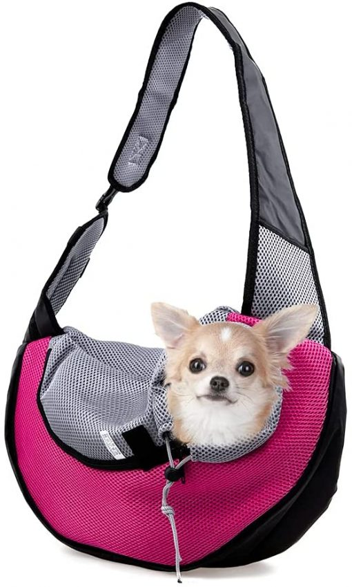 APABEZY Dog Sling Carrier for Small Dogs Cat Carrier Breathable Mesh Hand-Free Bag up to 5 lbs Gift