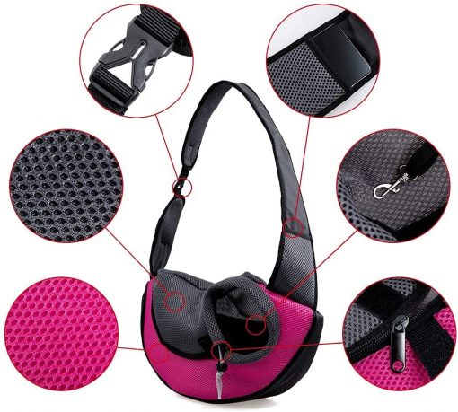 APABEZY Dog Sling Carrier for Small Dogs Cat Carrier Breathable Mesh Hand-Free Bag up to 5 lbs Gift 7