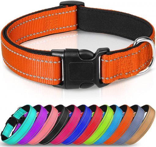 Joytale Reflective Dog Collar,12 Colors,Soft Neoprene Padded Breathable Nylon Pet Collar Adjustable for Small Medium Large Dogs,4 Sizes