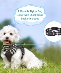 WINSEE Dog Harness No Pull, Pet Harnesses with Dog Collar, Adjustable Reflective Oxford Outdoor Vest, 2