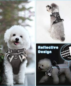WINSEE Dog Harness No Pull, Pet Harnesses with Dog Collar, Adjustable Reflective Oxford Outdoor Vest, 3