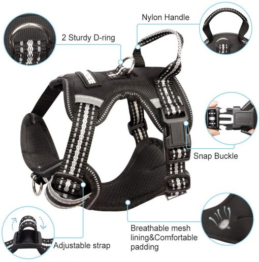 WINSEE Dog Harness No Pull, Pet Harnesses with Dog Collar, Adjustable Reflective Oxford Outdoor Vest, 4