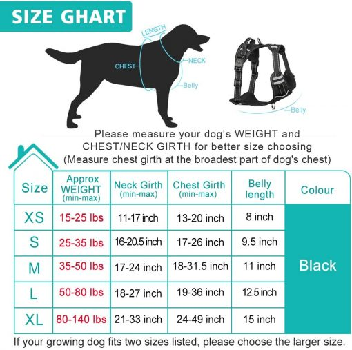 WINSEE Dog Harness No Pull, Pet Harnesses with Dog Collar, Adjustable Reflective Oxford Outdoor Vest, 6