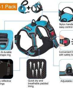 tobeDRI No Pull Dog Harness Adjustable Reflective Oxford Easy Control Medium Large Dog Harness with A Free Heavy Duty 5ft Dog Leash 3