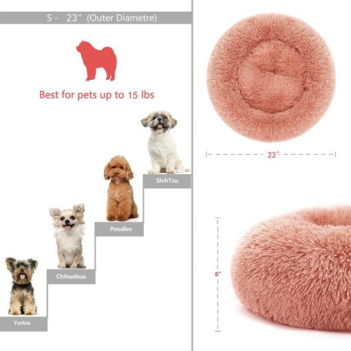 Puppy Beds for Small Dogs Washable 23 Inches Deep Sleep Calming Pink Cute Dog Bed for Girls Chihuahua Bed for Pet Dog Beds Fits up to 20 lbs Pets Beds Machine Washable Dog Bed 2