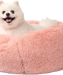 Puppy Beds for Small Dogs Washable 23 Inches Deep Sleep Calming Pink Cute Dog Bed for Girls Chihuahua Bed for Pet Dog Beds Fits up to 20 lbs Pets Beds Machine Washable Dog Bed