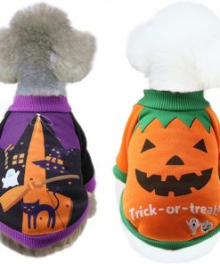 2 Pack Halloween Dog Shirts Clothes for Small Dogs, Puppy Knitwear Dog Sweater Soft Warm Pet Clothes Apparel Costumes for Chihuahua