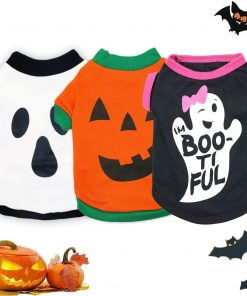 3 Pieces Dog Halloween Clothes for Small Medium Dogs Sebaoyu Halloween Puppy Shirt Costume Outfits Cute Pet Cat Clothing Apparel Halloween