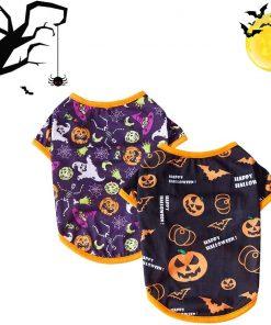 DaFuEn Dog Halloween Shirt Puppy Clothes for Small Medium Dogs Boy Girl Dog Halloween Costume for Chihuahua Pumpkin Bat Ghost Pattern