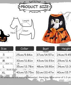 DaFuEn Ghost Dog Halloween Costume Dog Clothes for Small Medium Large Dogs Girl Dresses Puppy Party Apparel Doggie Wedding Dress Cat Outfit for Chihuahua Skirt 2