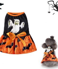 DaFuEn Ghost Dog Halloween Costume Dog Clothes for Small Medium Large Dogs Girl Dresses Puppy Party Apparel Doggie Wedding Dress Cat Outfit for Chihuahua Skirt