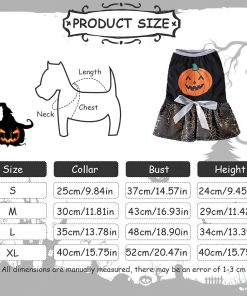 DaFuEn Pumpkin Dog Halloween Costume Dog Clothes for Small Medium Large Dogs Girl Dresses Puppy Party Apparel Doggie Wedding Dress Cat Outfit 2