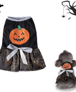 DaFuEn Pumpkin Dog Halloween Costume Dog Clothes for Small Medium Large Dogs Girl Dresses Puppy Party Apparel Doggie Wedding Dress Cat Outfit