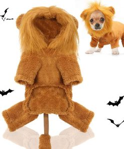 Dog Lion Costume, Pet Lion Mane Jumpsuit Costumes, Puppy Clothes Halloween Party Outfits, Doggy Simulation Lion Wig Apparel, Dogs and Cats 2