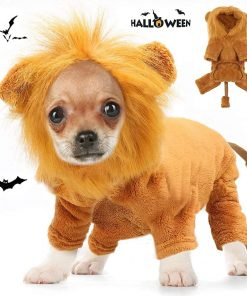 Dog Lion Costume, Pet Lion Mane Jumpsuit Costumes, Puppy Clothes Halloween Party Outfits, Doggy Simulation Lion Wig Apparel, Dogs and Cats
