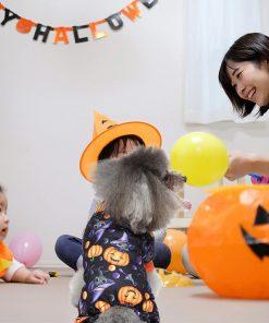 Dog Pajamas Medium Sized Dog Halloween Clothes 4 Legged Puppy Dog Onesie Pet Halloween Costumes Rompers Bodysuit Pumpkin Cat Outfit Apparel 3