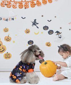 Dog Pajamas Medium Sized Dog Halloween Clothes 4 Legged Puppy Dog Onesie Pet Halloween Costumes Rompers Bodysuit Pumpkin Cat Outfit Apparel 4
