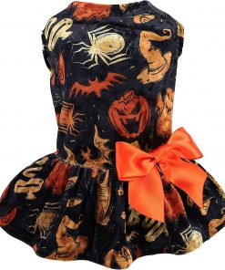 Fitwarm Halloween Lightweight Velvet Clothes Dog Costume Puppy Dress Doggie Party Girl One Piece with Bowknot Holiday Cat Outfits