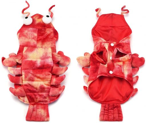 Mogoko Dog Cat Lobster Costume, Pet Halloween Cosplay Dress, Puppy Red Hoodie Warm Outfits Clothes 2
