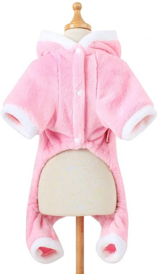 POPETPOP Cute Pet Costume, Pink Pig Design Pet Warm Hoodie for Dogs and Cats, Halloween Christmas Cosplay Dress Up Clothes for Puppies 2