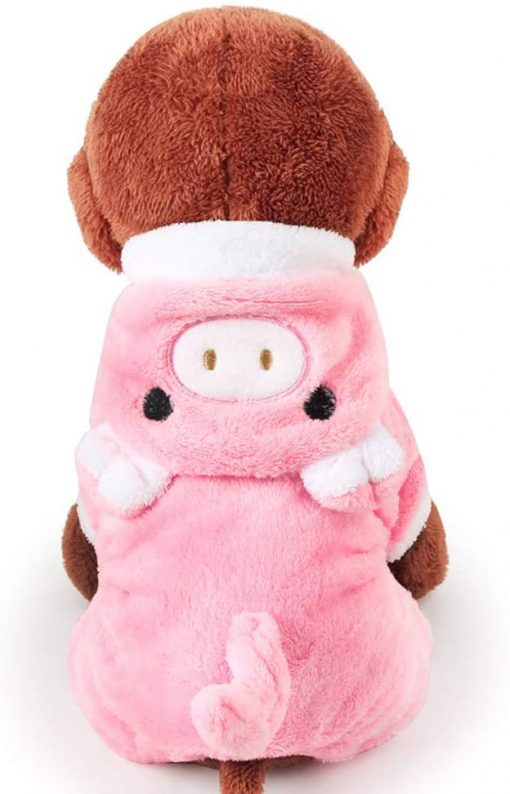 POPETPOP Cute Pet Costume, Pink Pig Design Pet Warm Hoodie for Dogs and Cats, Halloween Christmas Cosplay Dress Up Clothes for Puppies 3