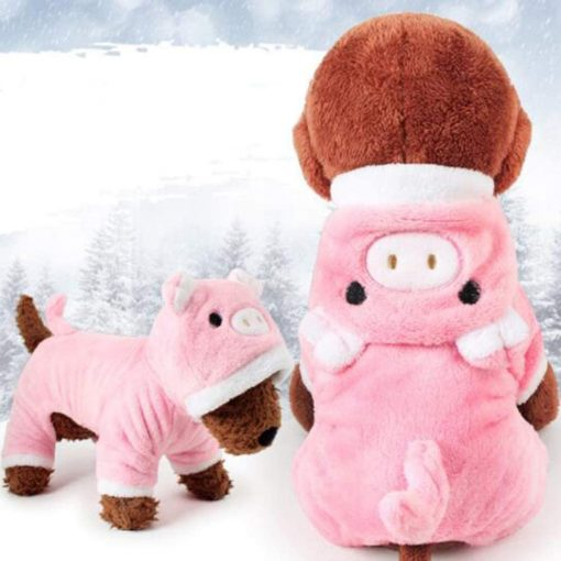 POPETPOP Cute Pet Costume, Pink Pig Design Pet Warm Hoodie for Dogs and Cats, Halloween Christmas Cosplay Dress Up Clothes for Puppies 4