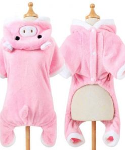 POPETPOP Cute Pet Costume, Pink Pig Design Pet Warm Hoodie for Dogs and Cats, Halloween Christmas Cosplay Dress Up Clothes for Puppies 5