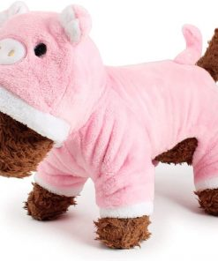 POPETPOP Cute Pet Costume, Pink Pig Design Pet Warm Hoodie for Dogs and Cats, Halloween Christmas Cosplay Dress Up Clothes for Puppies 6