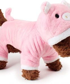 POPETPOP Cute Pet Costume, Pink Pig Design Pet Warm Hoodie for Dogs and Cats, Halloween Christmas Cosplay Dress Up Clothes for Puppies 7
