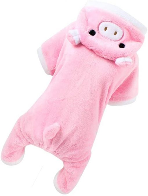 POPETPOP Cute Pet Costume, Pink Pig Design Pet Warm Hoodie for Dogs and Cats, Halloween Christmas Cosplay Dress Up Clothes for Puppies 8