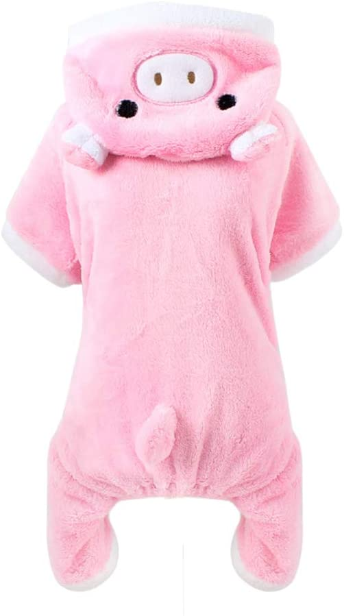 POPETPOP Cute Pet Costume, Pink Pig Design Pet Warm Hoodie for Dogs and Cats, Halloween Christmas Cosplay Dress Up Clothes for Puppies