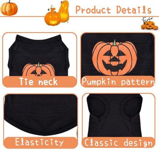 Ruizik Halloween Costumes for Small Dogs,Small Dog Tshirts Female Male,Halloween Pumpkin Dog Shirt,Halloween Costumes for xs Puppies,Small Dog Outfit 3