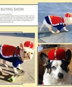 SEIS Halloween 3 Pcs Dog King Cloak Costume with Crown Cap Pet Suit Prince Autumn Winter Apparel Cat Hoodies with Hat Puupy Clothes French Bulldog Chihuahua 2