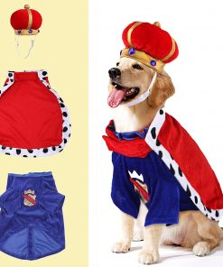SEIS Halloween 3 Pcs Dog King Cloak Costume with Crown Cap Pet Suit Prince Autumn Winter Apparel Cat Hoodies with Hat Puupy Clothes French Bulldog Chihuahua