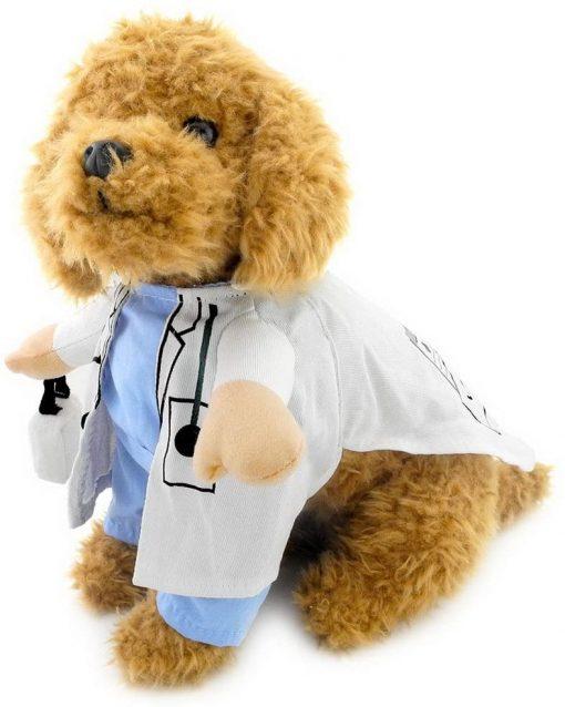 SELMAI Puppy Pet Dog Cat Doctor Suit Costume Fancy Dress Small Dog Coat Medicine Box Decorated All Seasons 2