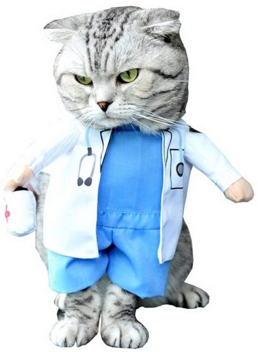 SELMAI Puppy Pet Dog Cat Doctor Suit Costume Fancy Dress Small Dog Coat Medicine Box Decorated All Seasons 3