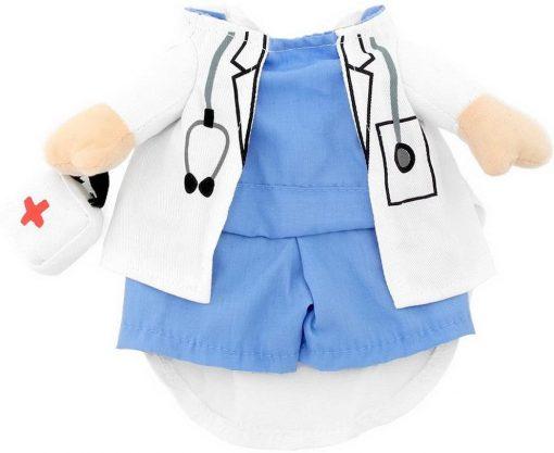 SELMAI Puppy Pet Dog Cat Doctor Suit Costume Fancy Dress Small Dog Coat Medicine Box Decorated All Seasons 6