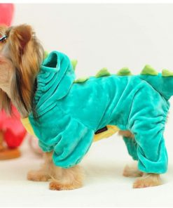 """Yu-Xiang Dog Dinosaur Suit Halloween Costume Pet Dino Hoodie for Small and Medium Dogs Winter Warm Clothing (S(Back 11.5""""), Green) 2"""