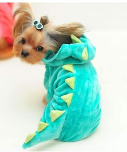 """Yu-Xiang Dog Dinosaur Suit Halloween Costume Pet Dino Hoodie for Small and Medium Dogs Winter Warm Clothing (S(Back 11.5""""), Green)"""
